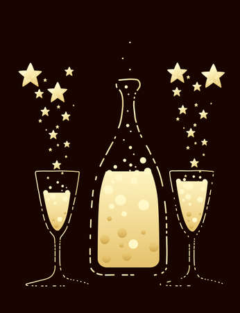 Two champagne flutes and bottle narrow glasses filled with champagne flat vector illustration on brown background