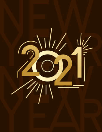 2021 New Year banner with script text design template for poster or greetings card flat vector illustration on brown background