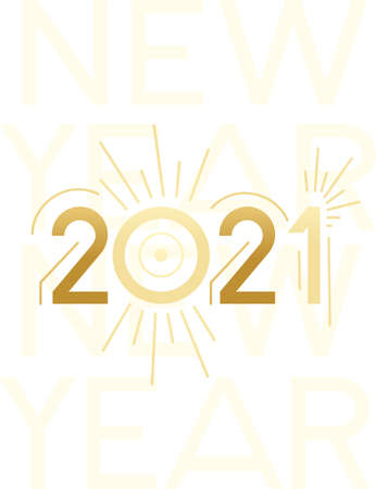 2021 New Year banner with script text design template for poster or greetings card flat vector illustration on white background