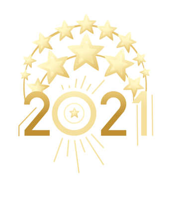 2021 New Year banner with script text and golden decorative stars design template for poster or greetings card flat vector illustration on white background 矢量图像