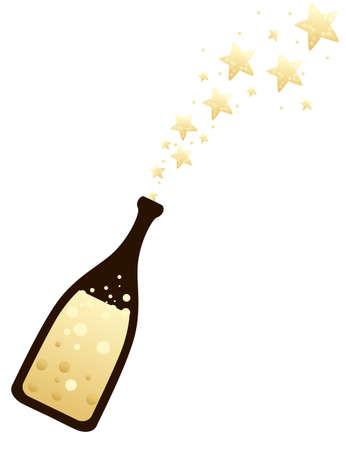Star explosion of champagne bottle flat vector illustration on white background