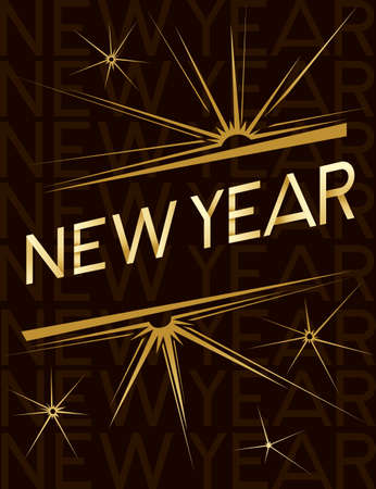 New Year banner with script text and glittering star design template for poster or greetings card flat vector illustration on brown background