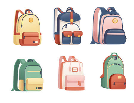 Set of school bags different size and shapes flat vector illustration on white background Archivio Fotografico - 161185195