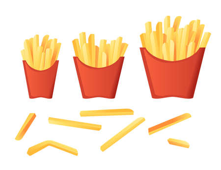 Savory french fries in different size red paper boxes fast food meal flat vector illustration isolated on white background Vettoriali