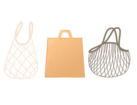 String and paper bags for shopping eco friendly products flat vector illustration isolated on white background