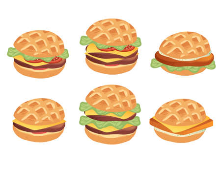 Set of burgers with different ingredients and sizes takeaway fast food flat vector illustration isolated on white background