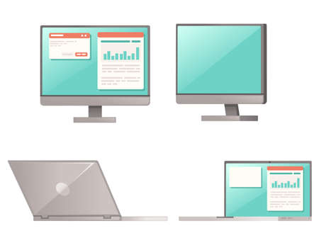 Modern computer devices notebook and All in one pc set of modern gadget flat vector illustration isolated on white background Archivio Fotografico - 161185201