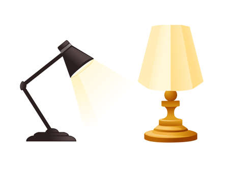 Classic and modern table lamp flat vector illustration isolated on white background