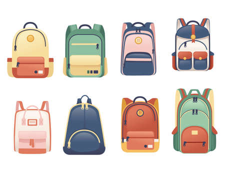 Set of school bags different size and shapes flat vector illustration on white background Vettoriali