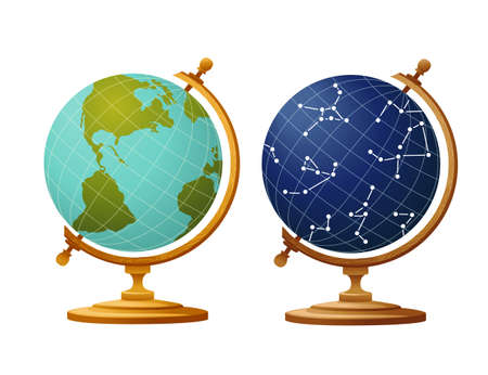 Set of two globe earth and sky constellation globe for school on wooden stand flat vector illustration on white background Vettoriali