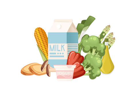 Set of healthy food vegetables and dairy products organic vegan food flat vector illustration on white background