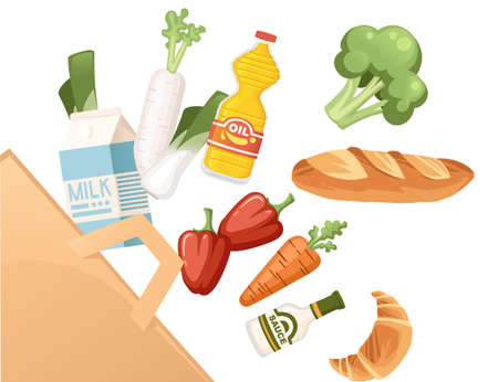 Set of healthy food vegetables and dairy products organic vegan food flying into paper bag abstract flat vector illustration on white background