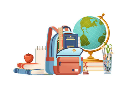 Backpack casual design and school supplies stationery flat vector illustration on white background poster for back to school