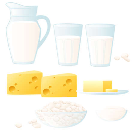 Set of dairy products cheese milk and cottage cheese vector illustration on white background Ilustração