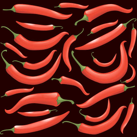 Seamless pattern of hot red chili pepper vector illustration of hot vegetables spicy food ingredient
