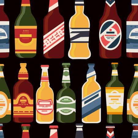 Beer bottles seamless pattern with label glass bottles with different types of beer alcohol drink vector illustration on dark background Ilustração