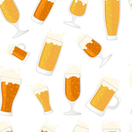 Seamless pattern of beer in glass mug different types of mugs and beers vector illustration on white background