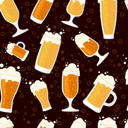 Seamless pattern of beer in glass mug different types of mugs and beers vector illustration on brown background