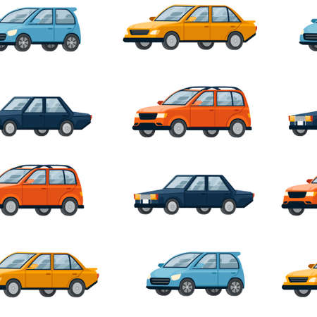 Seamless pattern of four different cars retro and modern city automotive vector illustration