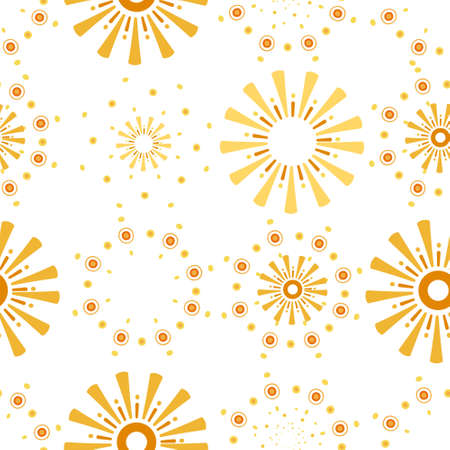 Seamless pattern of abstract sun rays six different variation vector illustration on white background