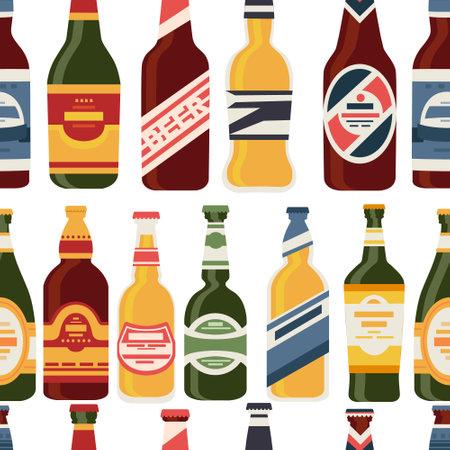 Beer bottles seamless pattern with label glass bottles with different types of beer alcohol drink vector illustration on white background Ilustração