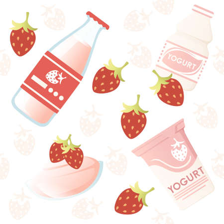 Seamless pattern Illustration with yogurt package creative design plastic package with label vector illustration Ilustração