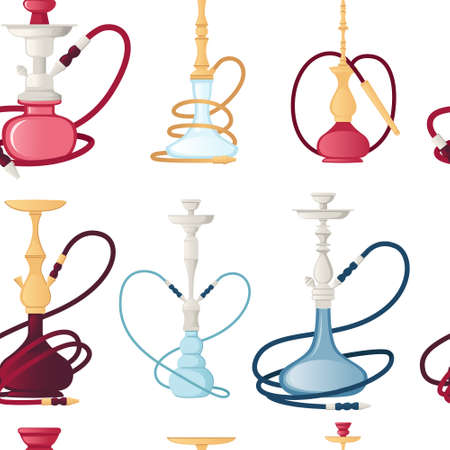 Seamless pattern of modern and classic hookah unhealthy tool for smoking vector illustration