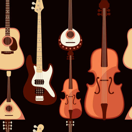 Seamless pattern of classical musical instrument collection cartoon design vector illustration