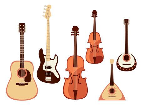 Set of classical musical instrument violin guitar balalaika collection cartoon design vector illustration