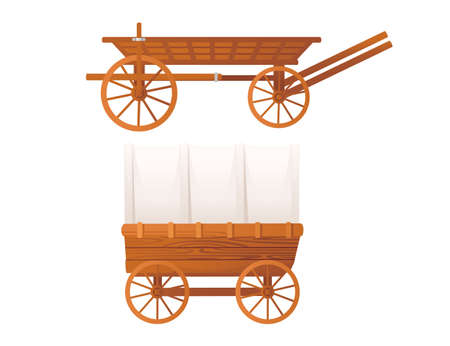 Medieval stagecoach carriage for cargo transportation vector illustration on white background Vecteurs
