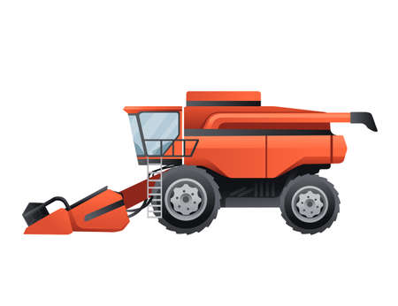 Agriculture combine harvester rural industrial farm vehicle vector illustration on white background