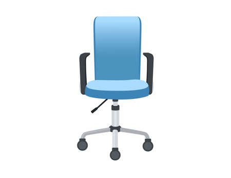Modern office chair on the wheels blue color vector illustration on white background