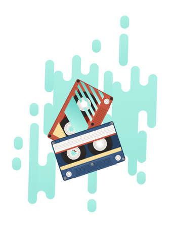 Retro audio cassette with retro pattern vector illustration with abstract turquoise background