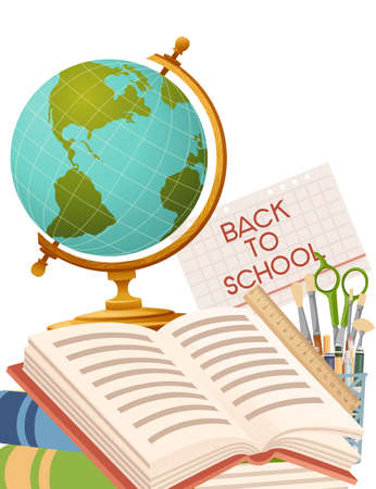 Back to school banner with sign opened book globe and stationery poster with school supplies vector illustration on white background