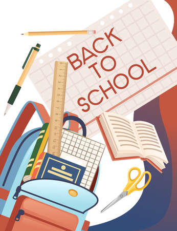 Back to school banner with sign opened book backpack and stationery poster with school supplies vector illustration on white background