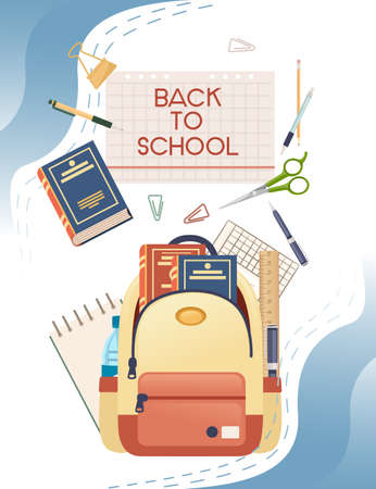 Back to school banner with sign book backpack and stationery poster with school supplies vector illustration on white background Vettoriali