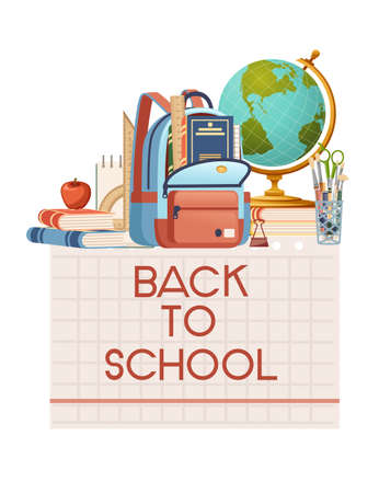 Back to school banner with sign opened book backpack globe and stationery poster with school supplies vector illustration on white background