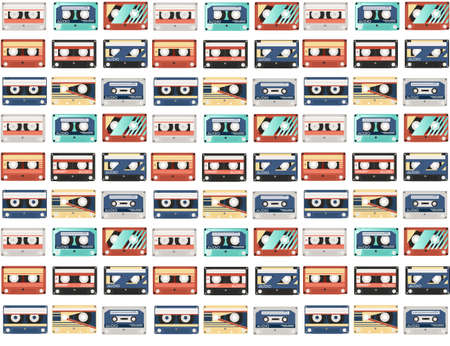 Seamless pattern of retro audio cassettes with different colorful patterns vector illustration on white background Vettoriali