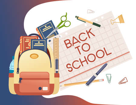 Back to school banner with signa stationery and books in backpack poster with school supplies vector illustration on white background Vettoriali