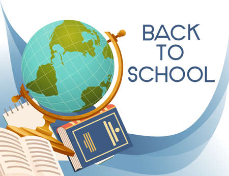 Back to school banner with sign opened book and globe vector illustration on white background Vettoriali