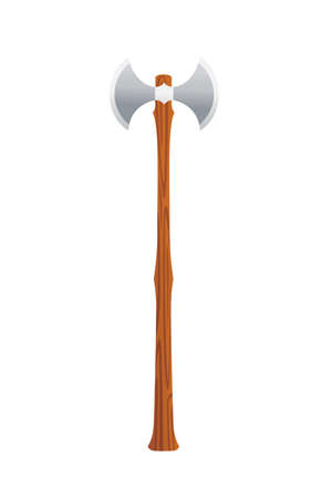 Medieval weapon war axe two sided iron blade with wooden handle two-handed battle axe used by vikings vector illustration on white background
