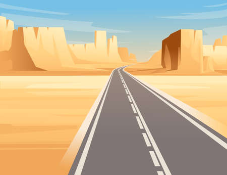 Road to highway in desert landscape with empty road and flat mountains sunny day with clear sky vector illustration Vettoriali