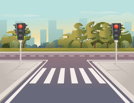 Empty city road with pedestrian crossing and traffic lights sunny day with clear sky vector illustration Vettoriali