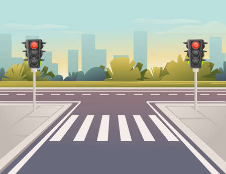 Empty city road with pedestrian crossing and traffic lights sunny day with clear sky vector illustration Vector Illustratie