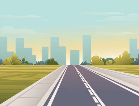 Road to city straight empty road through green meadow with trees and bushes sunny day with clear sky vector illustration