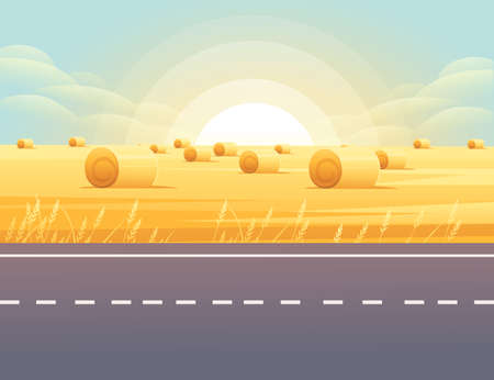 Road to city straight empty road through rural meadow with wheat field a sunny day with clear sky vector illustration Vettoriali
