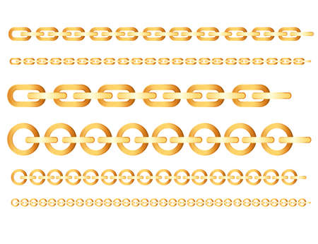 Set of different gold chain accessory for luxury decoration bracelets vector illustration on white background Vettoriali