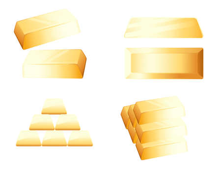 Gold bar in different positions and with stack of gold bar vector illustration on white background