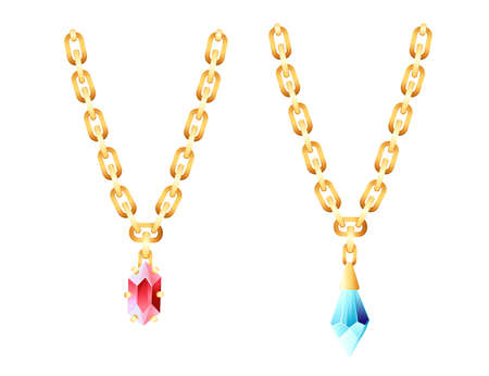 Golden luxury necklace with golden chain and red blue gems vector illustration on white background Vettoriali