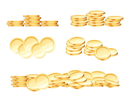 Set of different coins pile stack of golden monetary vector illustration on white background Vettoriali